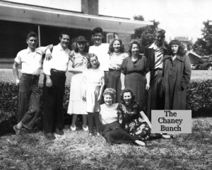 "Back Row: Johnny Chaney, Grady Chaney, Loretta Chaney, Sherry Chaney, Robert Chaney, Peggy Chaney, Edith Chaney, Jack Chaney and Doretha ""Sis"" Chaney. Front Row: Martha Sue Chaney, Lucille Chaney"